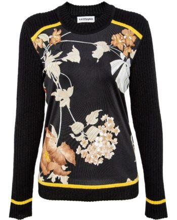 Hüftlanger Pullover im Seiden-Wollgemisch mit Musterprint-0