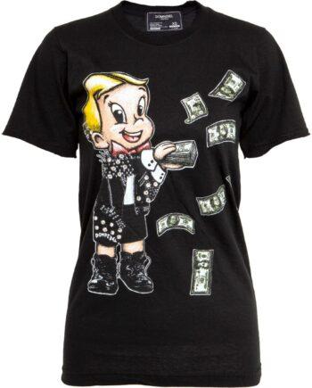 T-Shirt in Baumwolle mit Comicprintmotiv und Schmucksteinzier-0