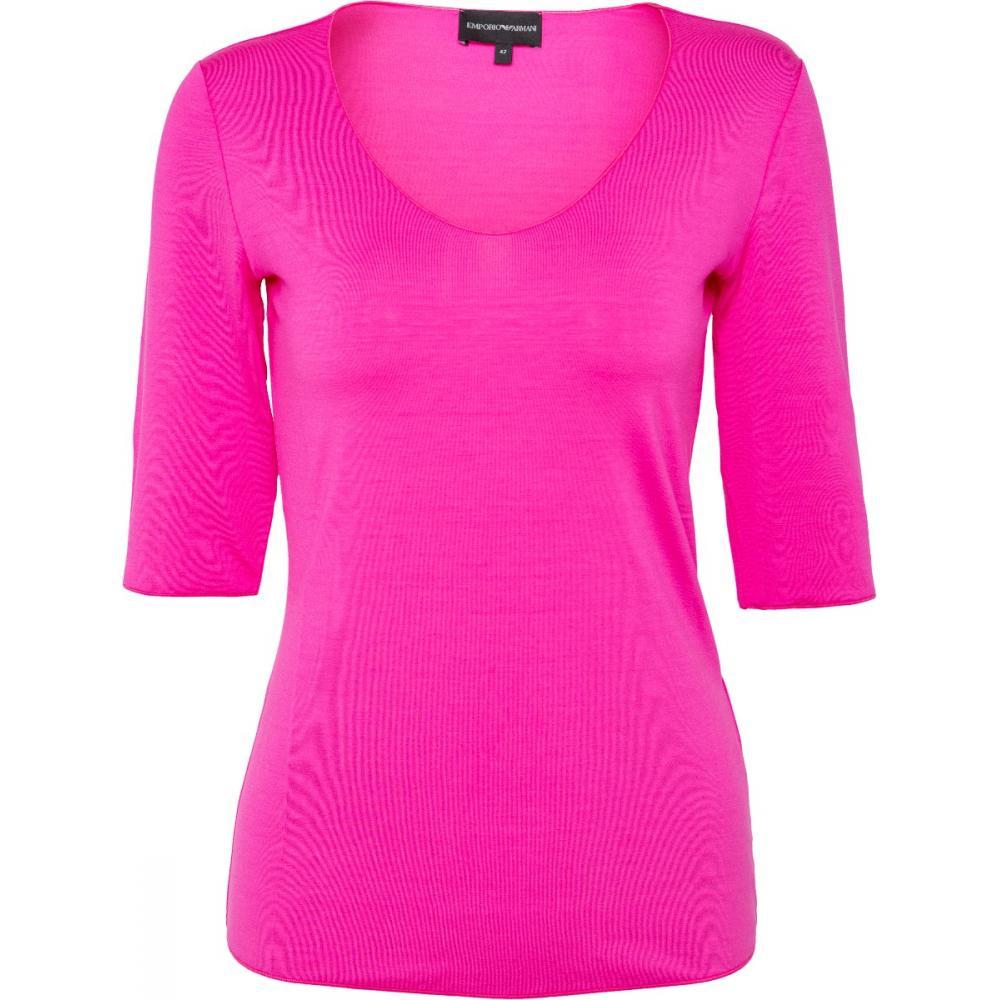T-Shirt in Stretch-Viskose mit V-Ausschnitt und Dreiviertelarm-0