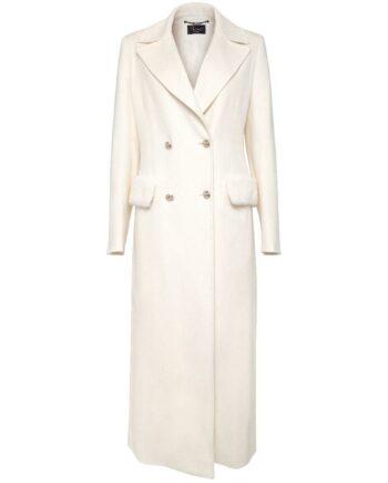 Langer Mantel im Slim-Cut aus Schurwolle mit Nerzfelldetails und Knopfleiste-0