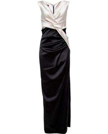 Silhouettennahe Two-Tone-Robe mit Drapierungen und V-Ausschnitt-0