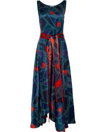 Midi-Kleid in Seide mit grafischem Musterprint und breitem Taillenbindegürtel-0