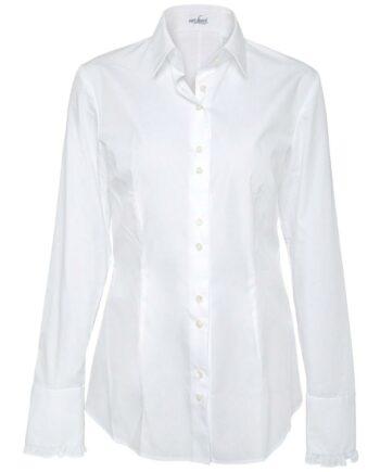 Slim-Cut-Bluse in Baumwolle mit Rüschendetails an den Ärmeln-0