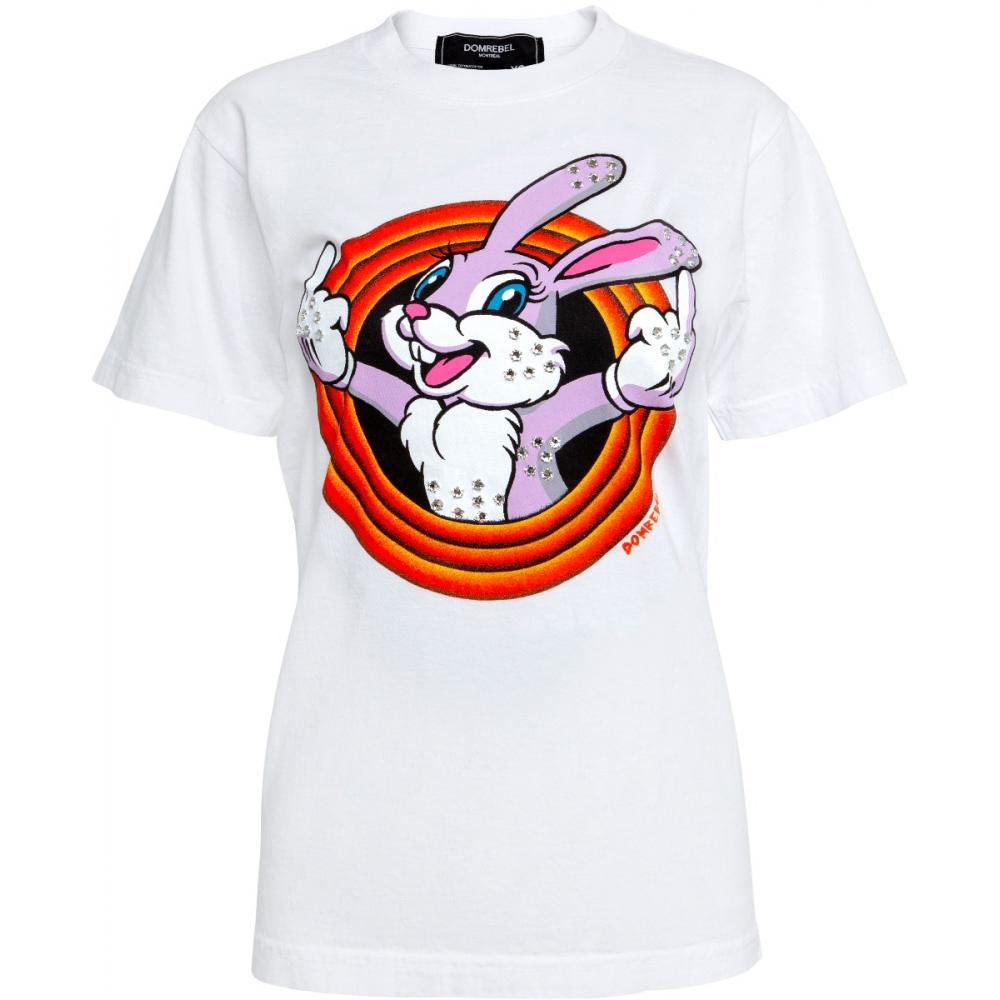 Slim Cut T-Shirt in Baumwolle mit Hasenprint und Schmucksteinzier-0