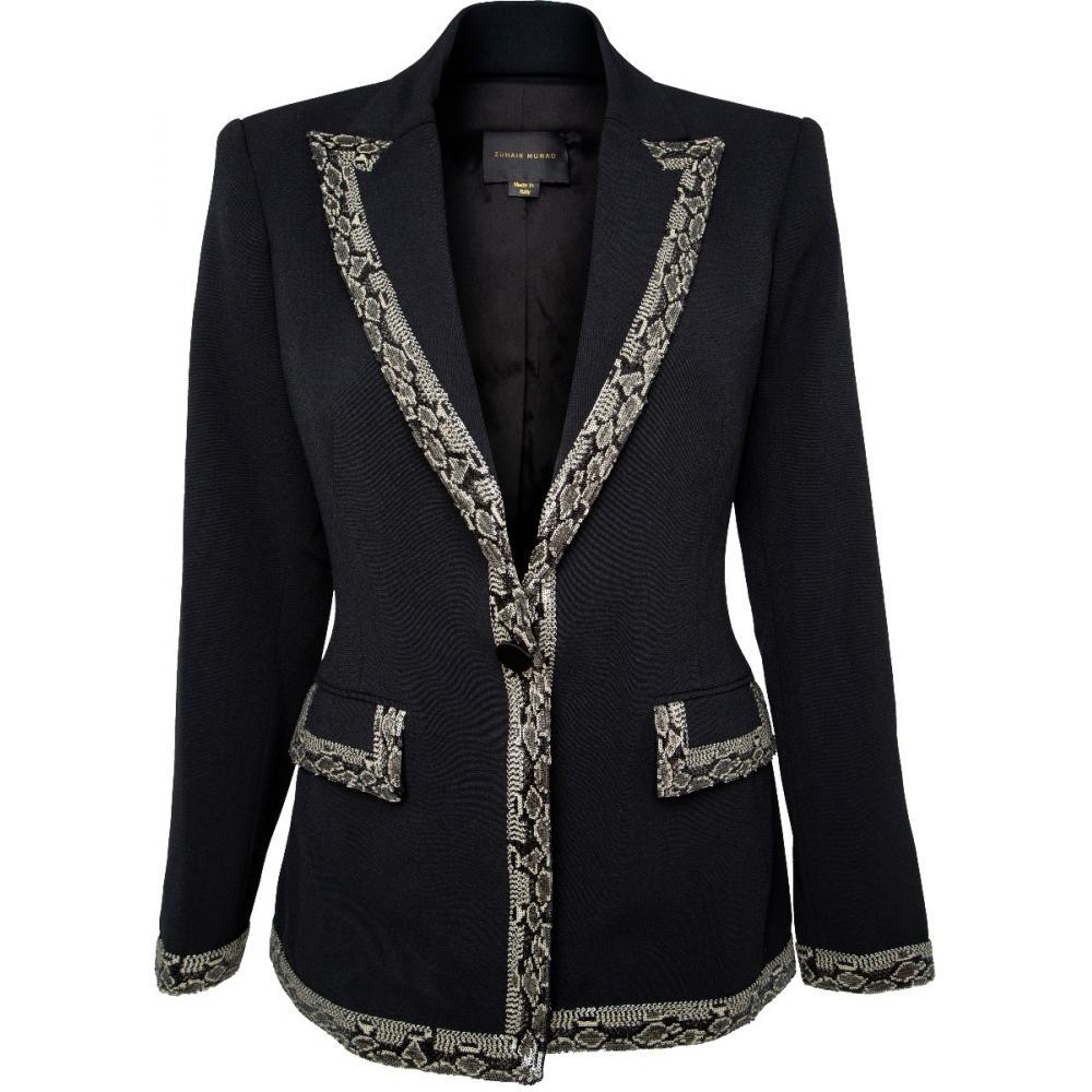 Anzug aus Blazer und Hose mit Details in Snakeskin-Optik-0