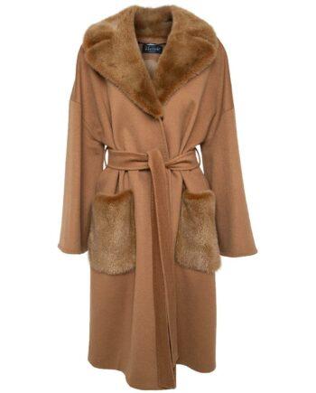Mantel in Schurwolle mit Nerzfelldetails am Kragen und an den aufgesetzten Taschen-0