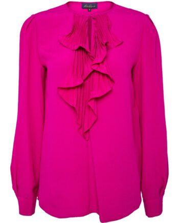 Bluse im Seidengemisch mit plissiertem Ornamentkragen-0