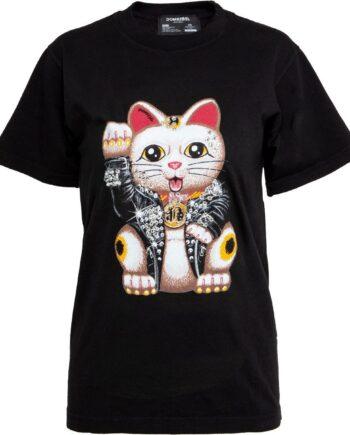 Slim Cut T-Shirt in Baumwolle mit Katzenprint und Schmucksteinzier-0