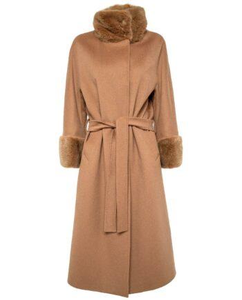 Langer Mantel in Schurwolle mit Taillenbindegürtel und kleinem Stehkragen in Nerz-0