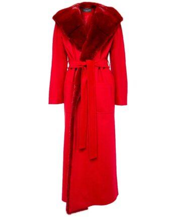 Mantel mit langem Pelzkragen und Pelzkapuze-0
