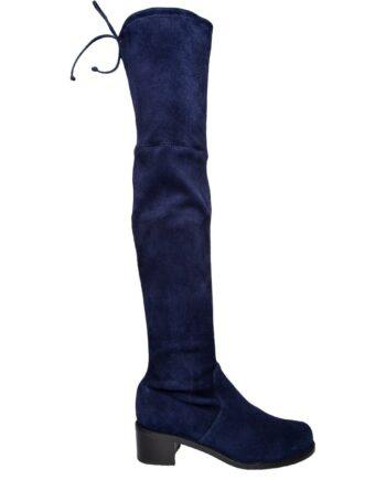 Overknee-Boots in Veloursleder mit breitem Absatz-0