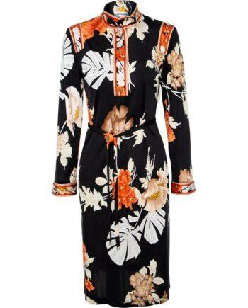 Hochgeschlossenes, knielanges Kleid in Seide im Kimono-Style mit ornamentalem Musterprint-0