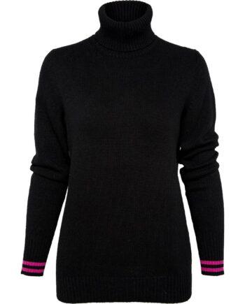 Rollkragen-Pullover im Woll-Kaschmirgemisch mit Streifenmotiv an den Ärmelbündchen-0