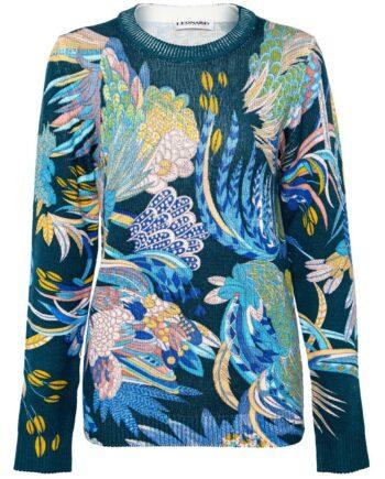 Hüftlanger Stickpullover in Wolle mit ornamentalem Musterprint-0