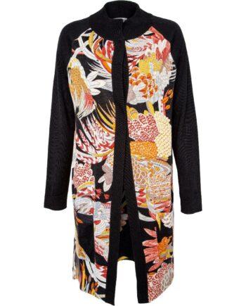 Long-Cardigan in Wolle mit ornamentalem Musterprint-0