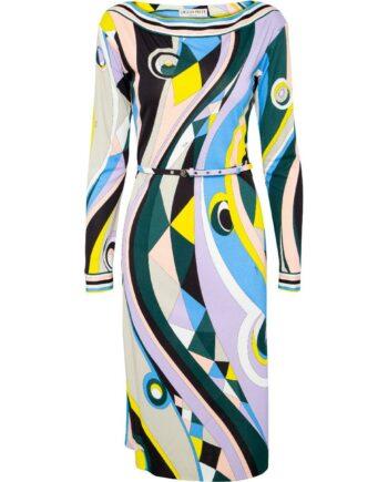 Knielanges, silhouettennahes Kleid im Viskose-Seidemix mit schmalem Taillengürtel-0
