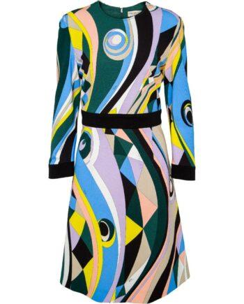 Knielanges Kleid in Stretch-Viskose mit Dreiviertelarm und ornamentalem Musterprint-0