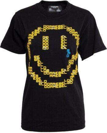 Oversize T-Shirt in Baumwolle mit Smileymotiv und Schmucksteinzier-0