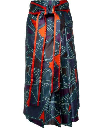 Midi-Rock in Seide mit grafischem Musterprint und Bindeschleife an der Taille-0