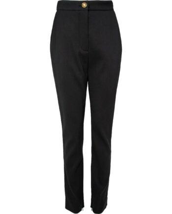 Taillierte High-Waist-Pants mit Logo-Knopfschließe-0