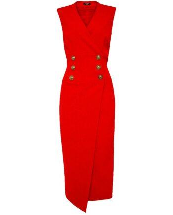 Ärmelloses Midi-Kleid in Wickeloptik mit Goldknopfzier-0