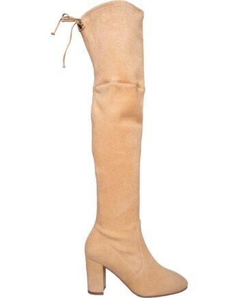 Overknee-Boots in Veloursleder mit breitem High-Heel-0