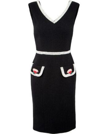 Mini-Kleid in Schurwolle mit Bordüre und Tartemotive-Deko-0