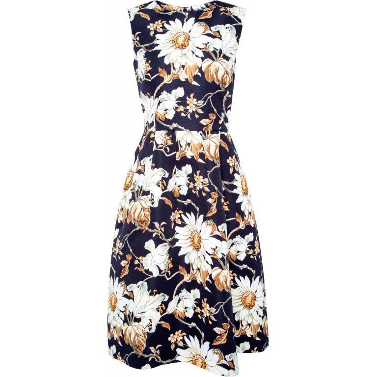 Ärmelloses, tailliertes Kleid mit floralem Musterprint-0