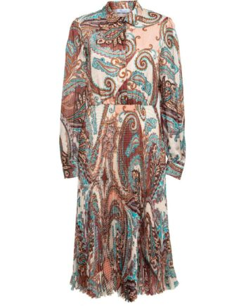 Plissékleid aus Seide mit ornamentalem Musterprint-0