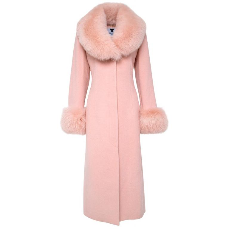 Langer Mantel im Schurwollegemisch mit breitem Fuchsfellkragen und Felldetail an den Ärmeln-0