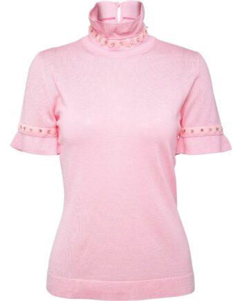 Kurzarm-Pullover mit Stehkragen und Schmucksteinzier-0