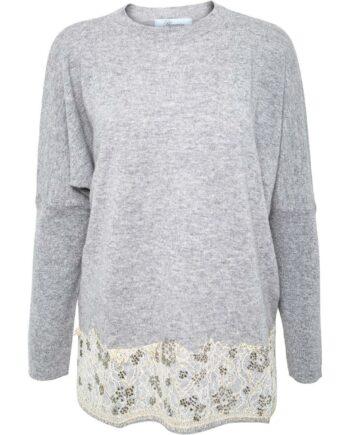 Pullover im Woll-Kaschmirgemisch mit Spitzendetail und Schmucksteinen-0