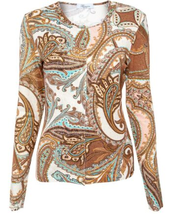 Twin-Set mit ornamentalem Musterprint aus ärmellosem Top und Cardigan-0