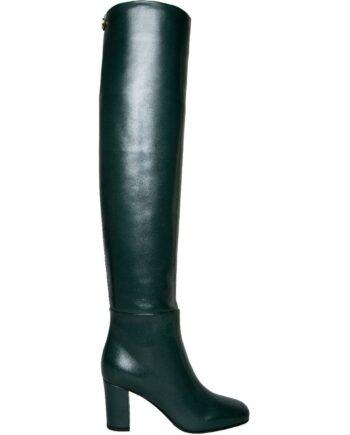 Overknee-Boots in Glattleder mit Blockabsatz-0