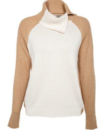 Pullover im Kaschmirgemisch mit asymmetrischem, offenem Rollkragen-0