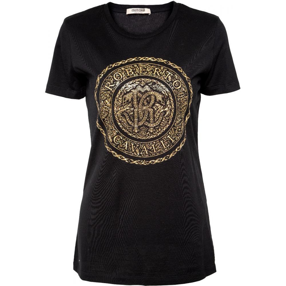 Silhouettennahes Shirt in Baumwolle mit metallischem Logo-Print-0