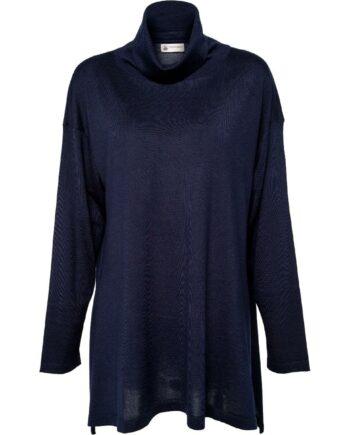 Leicht transparenter Oversize-Pullover im Kaschmir-Seidenmix mit Rollkragen-0