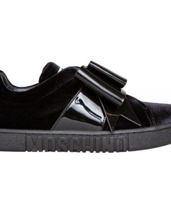 Samt Sneakers mit Gummiband und Lackmasche-0
