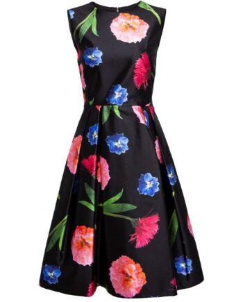 Kniebedeckendes Kleid mit floralem Print-0