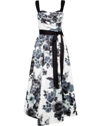 Cocktailkleid in Midi-Länge mit Taillenschleife und floralem Musterprint-0
