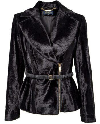 Silhouettennahe Fake-Fur-Jacke mit schmalem Taillengürtel-0