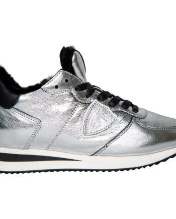 Sneakers in Metallicleder mit Fake-Fur-Fütterung-0