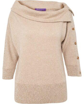 Hüftlanger Pullover in Kaschmir mit asymmetrischem Bateau-Ausschnitt und Knopfzier-0