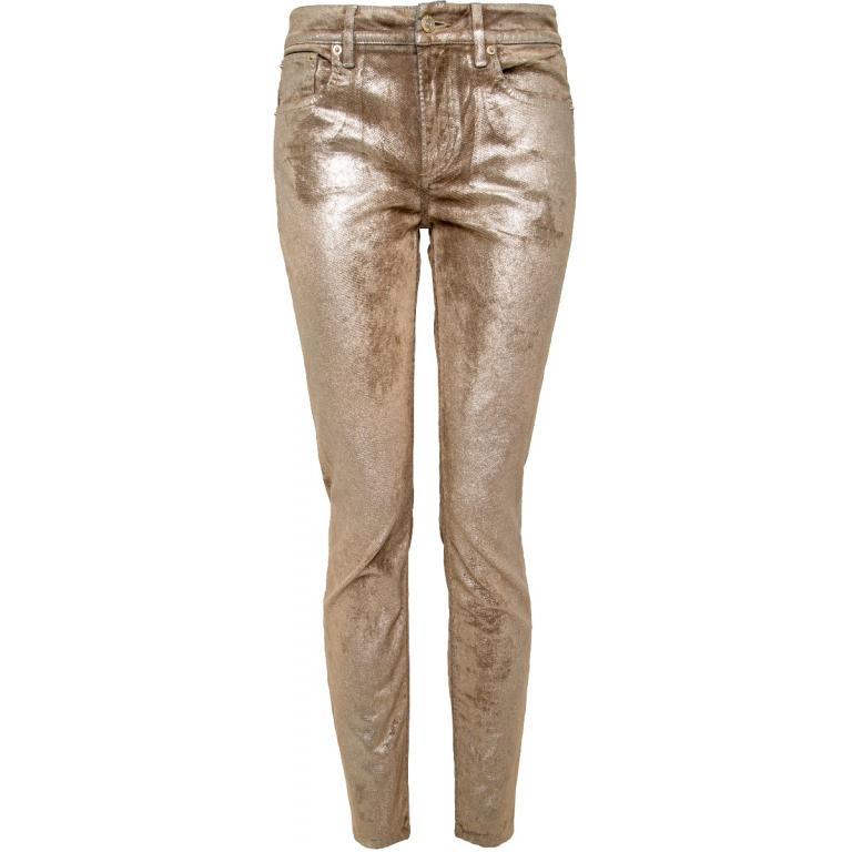 Slim-Pants mit Allover-Vergoldung im Used-Look-0