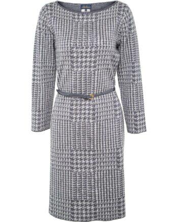 Reversibles, knielanges Kleid im Schurwollegemisch mit schmalem Taillengürtel und Karomusterprint-0